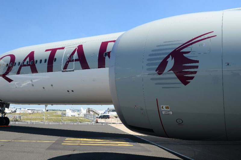 A Qatar Airways Boeing 777-300 is seen at Le Bourget airport on June 18, 2017 on the eve of the International Paris Air Show