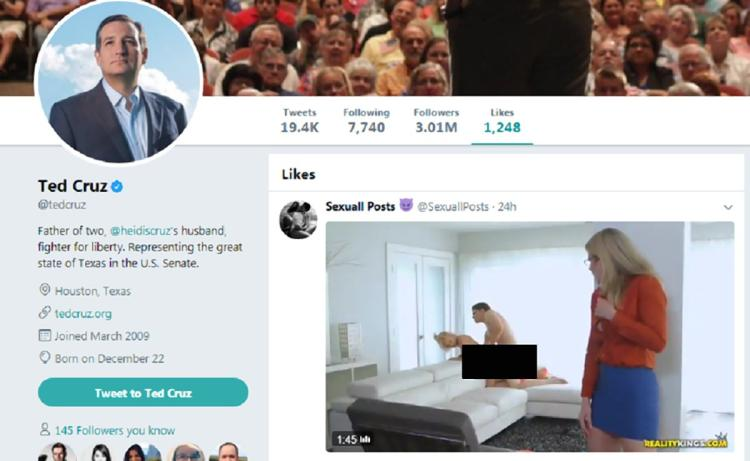 The porno appeared on Ted Cruz's page early Tuesday.