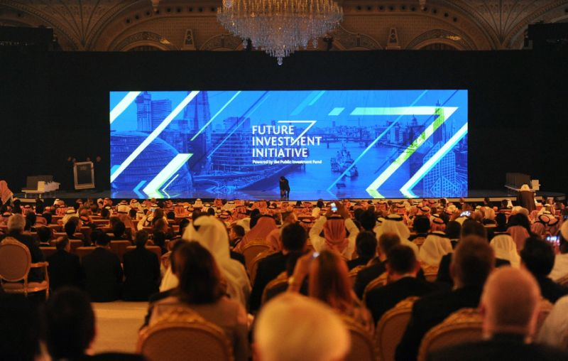People attend the Future Investment Initiative (FII) conference in Riyadh, on October 24, 2017