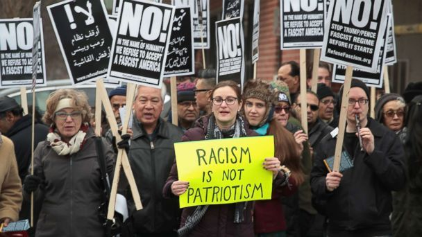 PHOTO: Demonstrators protest against President Donald Trump's attempt to impose a freeze on admitting refugees into the United States and impose a ban on travel from seven Muslim-majority countries, Feb. 11, 2017 in Chicago. (Scott Olson/Getty Images)