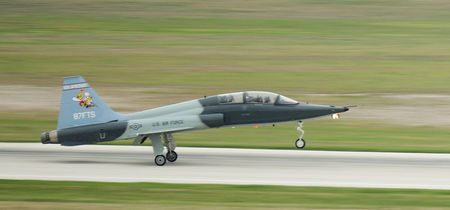 Lt. Col. Thomas Allen, 87th Flying Training Squadron commander, lands a T-38C Talon after a formation flight at Laughlin Air Force Base, Texas in this handout photo