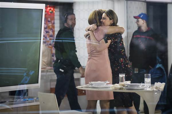 Image: Hoda Kotb and Savannah Guthrie embrace at the end of the show