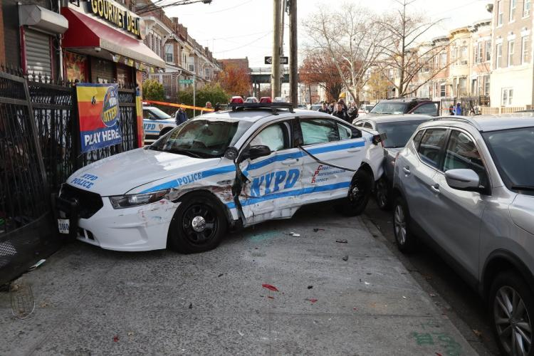 The police car involved in a multi-vehicle accident at Ridgewood Ave. and Hemlock Ave. in Brooklyn.