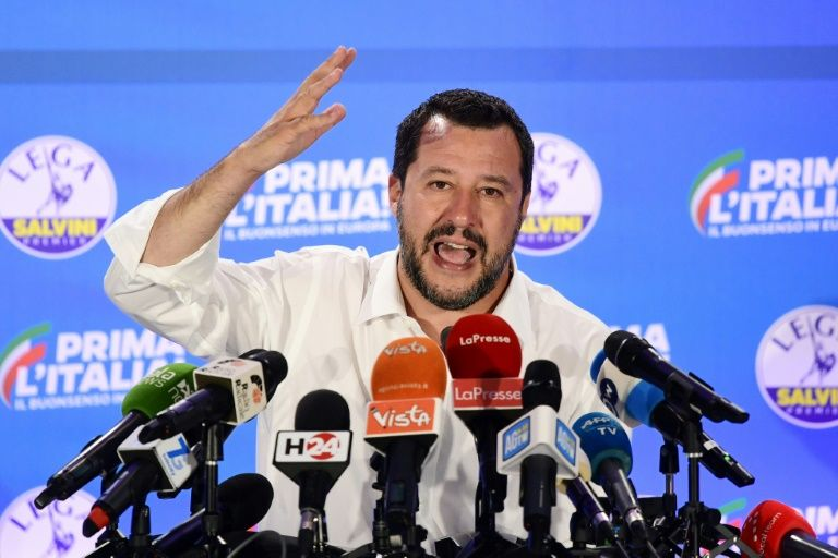 Italy's far-right Interior Minister Matteo Salvini has moved to block migrant rescue ships from the country's ports (AFP Photo/Miguel MEDINA)
