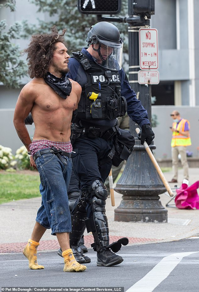 Lopez, who had been seen at other protests and was previously arrested (pictured) with other demonstrators, faces murder and first-degree wanton endangerment charges for the death of Gerth