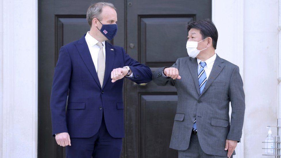 Dominic Raab held face-to-face talks on Monday with Japan's minister of foreign affairs Toshimitsu Motegi,